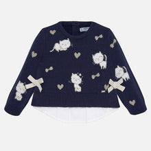 Cats & Bows Sweater 2313 Navy
