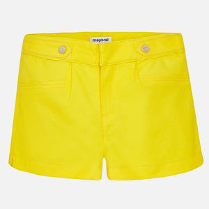 Yellow Poplin shorts with pleats 6204