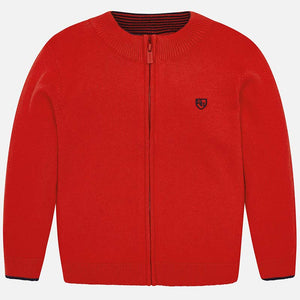 Knit Zip-up Sweater 324 Red