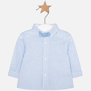 Long Sleeve Shirt with bow tie 1106 Blue