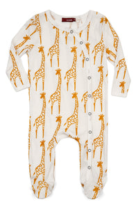 Organic Footed Romper - Yellow Giraffe