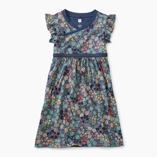 Chrysanthemum Ditsy Printed Wrap Neck Dress