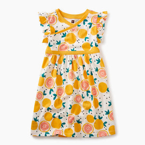 Florida Citrus Wrap Neck Dress