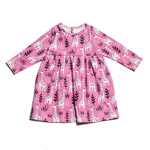 Geneva Bay Dress - Giraffes Dusty Rose