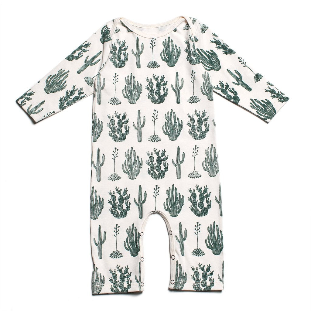 Cactus Green Long Sleeve Romper