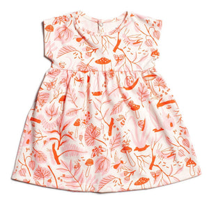 Merano Dress - Leaves & Bugs - Red & Pink
