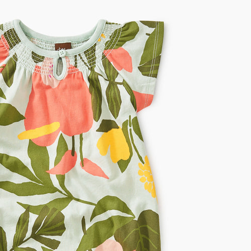 Tropical Garden Smocked Romper