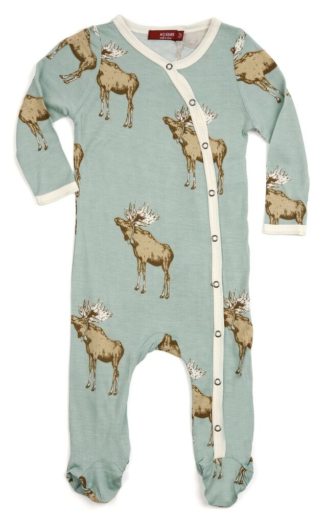 Bamboo Footed Romper - Blue Moose