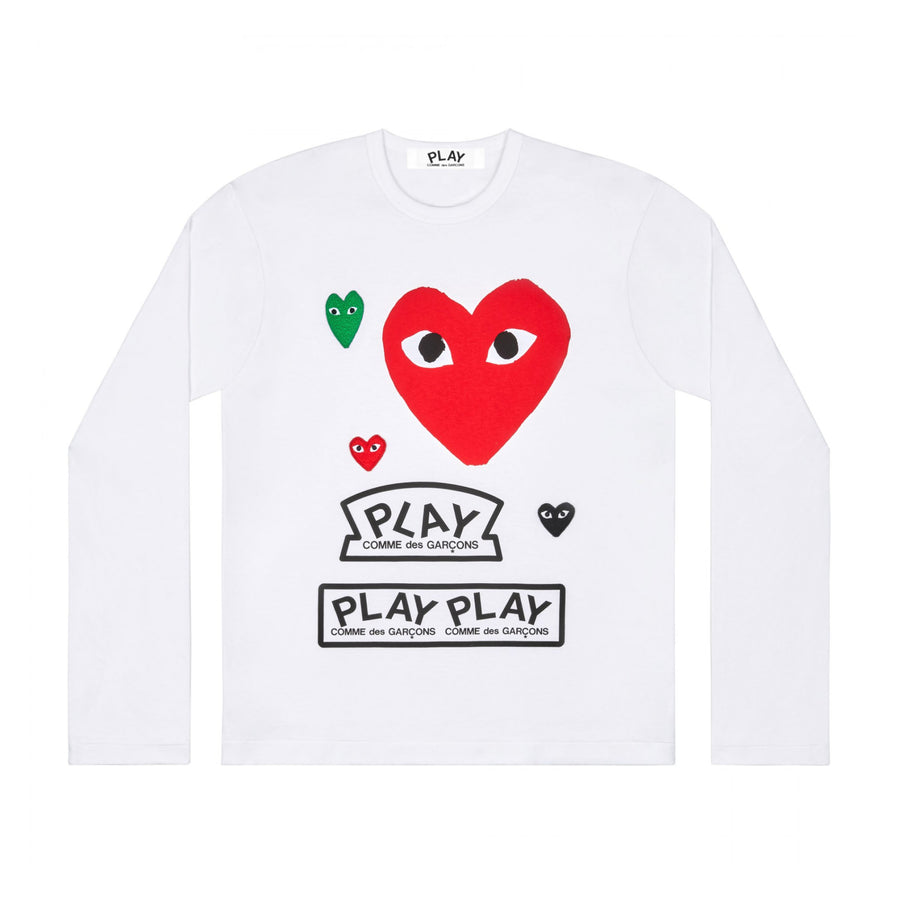 Comme des Garçons PLAY Long Sleeve T-Shirt (White) - August Shop