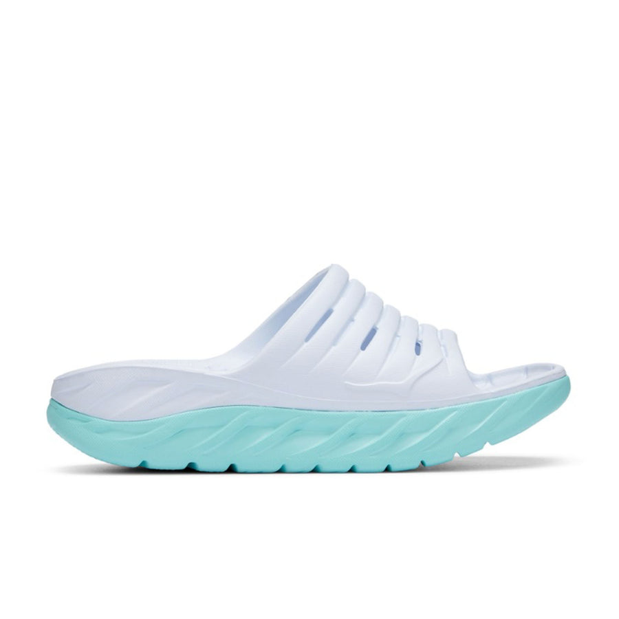 Hoka One One Women's Ora Recovery Slide (White/Blue Tint) - August Shop