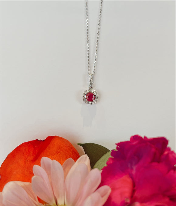10K .85 CTW Ruby & .09 CTW Diamond Necklace