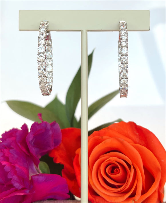 14K White Gold 6.12 CTW Diamond Hoop Earrings