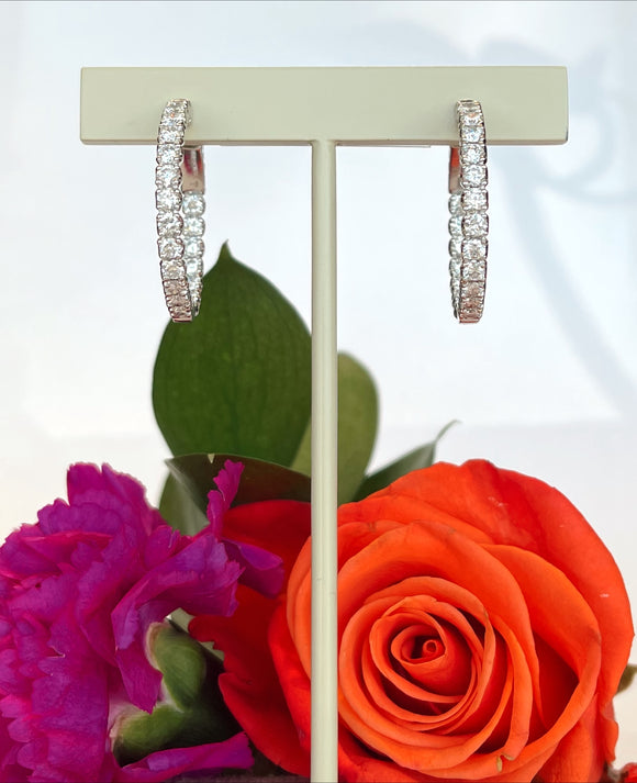 14K White Gold 2.90 CTW Inside Out Diamond Hoop Earrings