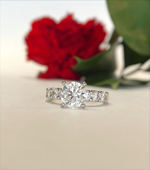 14K White Gold .77 CTW Diamond Mounting with 7.4 mm Simulated Round Center Engagement Ring