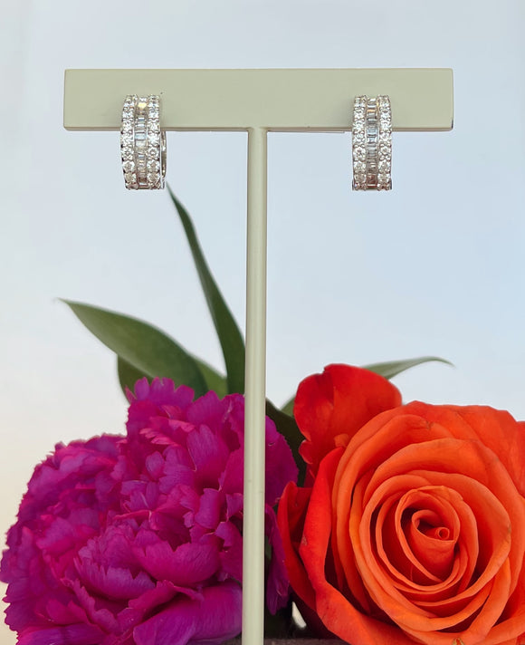 18K White Gold  1.32 CTW Diamond Hoop Earrings