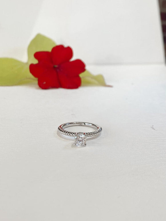 14K White Gold Roman & Jules Solitaire Mounting With CZ