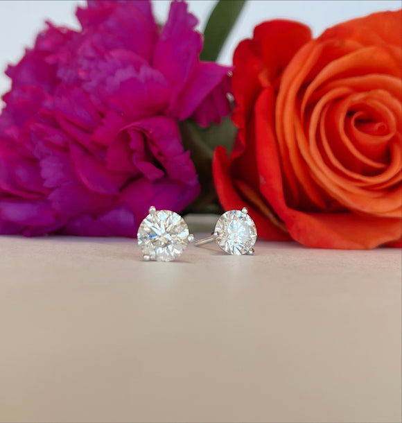 14K White Gold 2.25 CTW Diamond Stud Earrings