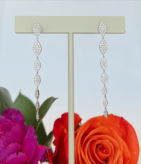 14K White .98 CTW Diamond Dangle Earrings