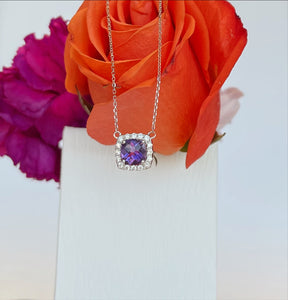14K White Gold .76 Carat Amethyst & .15 CTW Diamond Necklace
