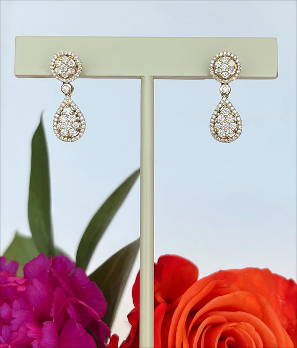 14K Yellow Gold .77 CTW Diamond Dangle Earrings