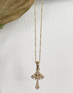 14K Yellow Gold .12 CTW Diamond Cross Necklace