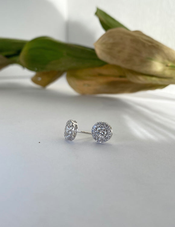 14K White Gold 0.78 CTW Diamond Stud Earrings