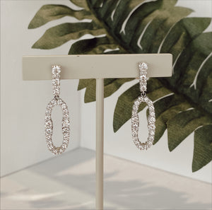 14K White Gold 2.28 CTW  Diamond Dangle Earrings - The Jewelers Lebanon