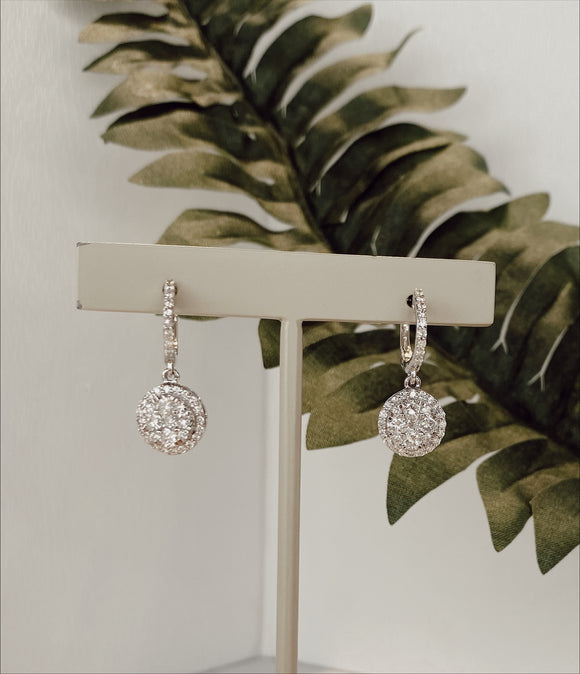14K White Gold 1.68  CTW Diamond Dangle Earrings