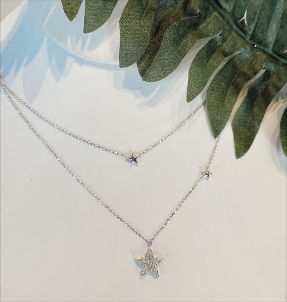 14K White Gold .40 CTW Diamond Star Necklace