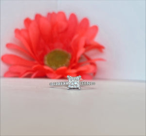 14K White Gold .59 CT Center .39 CT Mounting Engagement Ring