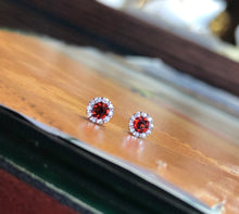 14K White Gold .26 CT Garnet and Diamond Earrings - The Jewelers Lebanon