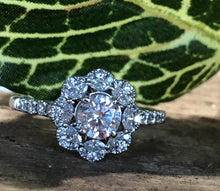 14k White Gold Round Brilliant with Halo Engagement Ring - The Jewelers Lebanon