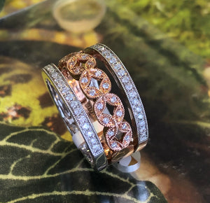 14K White Gold .44 CTW Roman & Jules & Rose Gold Stackable Diamond Bands - The Jewelers Lebanon