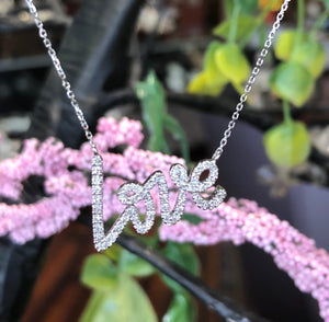 "14K White Gold .16 CTW Diamond ""Love"" Necklace"