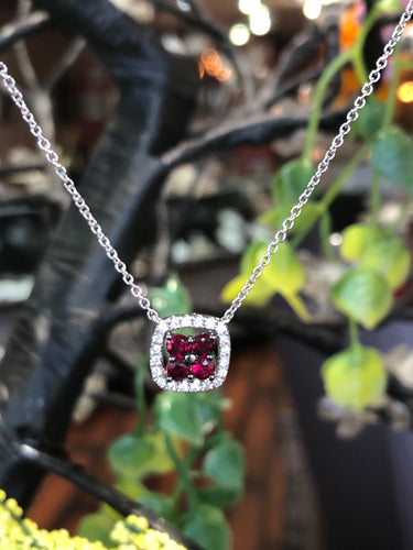 14K White Gold .38 Carat Ruby .11 CTW Roman & Jules Diamond Necklace