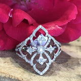 14K White Gold .31 CTW Filagree Diamond Ring - The Jewelers Lebanon