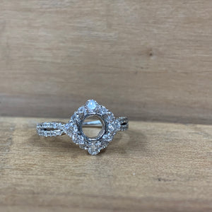 14K White Gold Square Halo Semi-Mounting - The Jewelers Lebanon