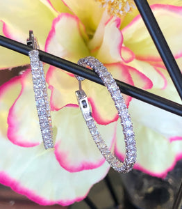 14K White Gold 3.0 CTW Diamond Inside Out Hoop Earrings