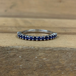 10K White Gold Lab Created Sapphire Band - The Jewelers Lebanon