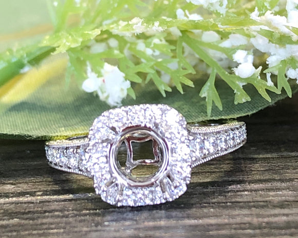 14K White Gold .60 CTW Diamond Semi-Mount Ring