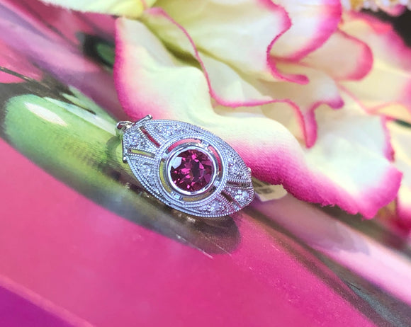 14K White Gold .51 Carat Rhodalite Garnet Center With .15 CTW Diamond Ring By Centuri