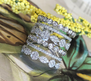 14K White Gold 1.34 CTW Diamond Stacked Ring By Yanni B