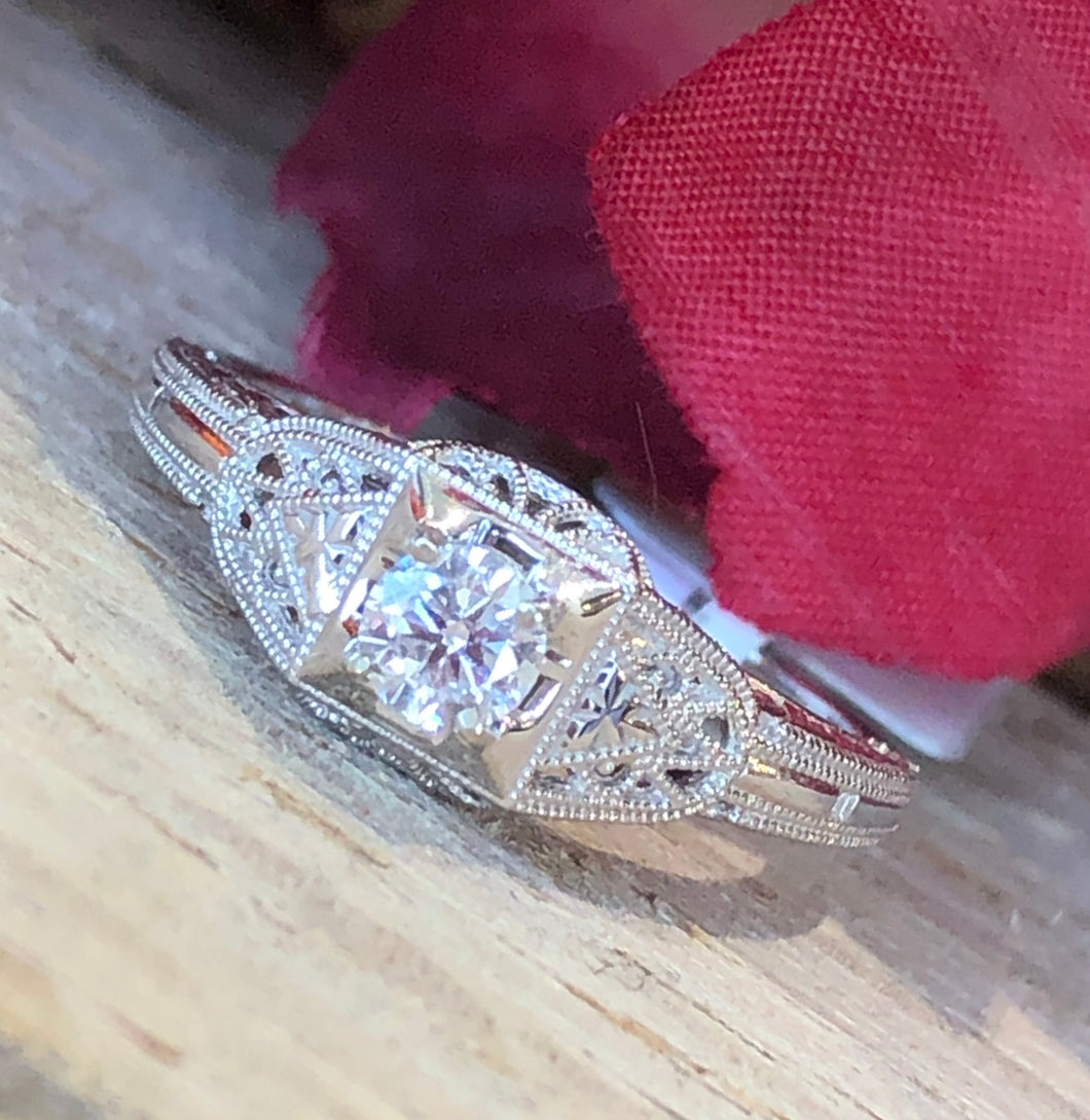 14K White Gold .23 Carat Center Diamond Ring