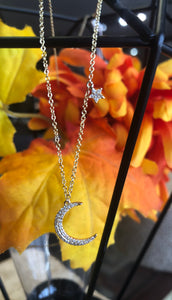 14K Yellow Gold Crescent moon 0.13 CTW Necklace