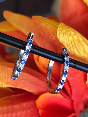 14K White Gold 0.16 Diamond CTW, 0.25 Sapphire CTW Hoop Earrings