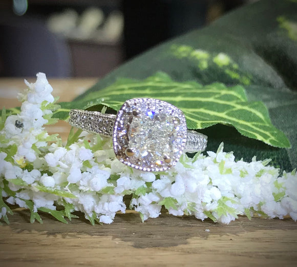 14K White Gold 1.52 Carat Cushion Cut Diamond Engagement Ring - The Jewelers Lebanon