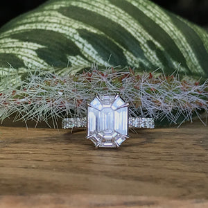 18K White Gold 1.52 CTW Emerald Cut Diamond Engagement Ring - The Jewelers Lebanon