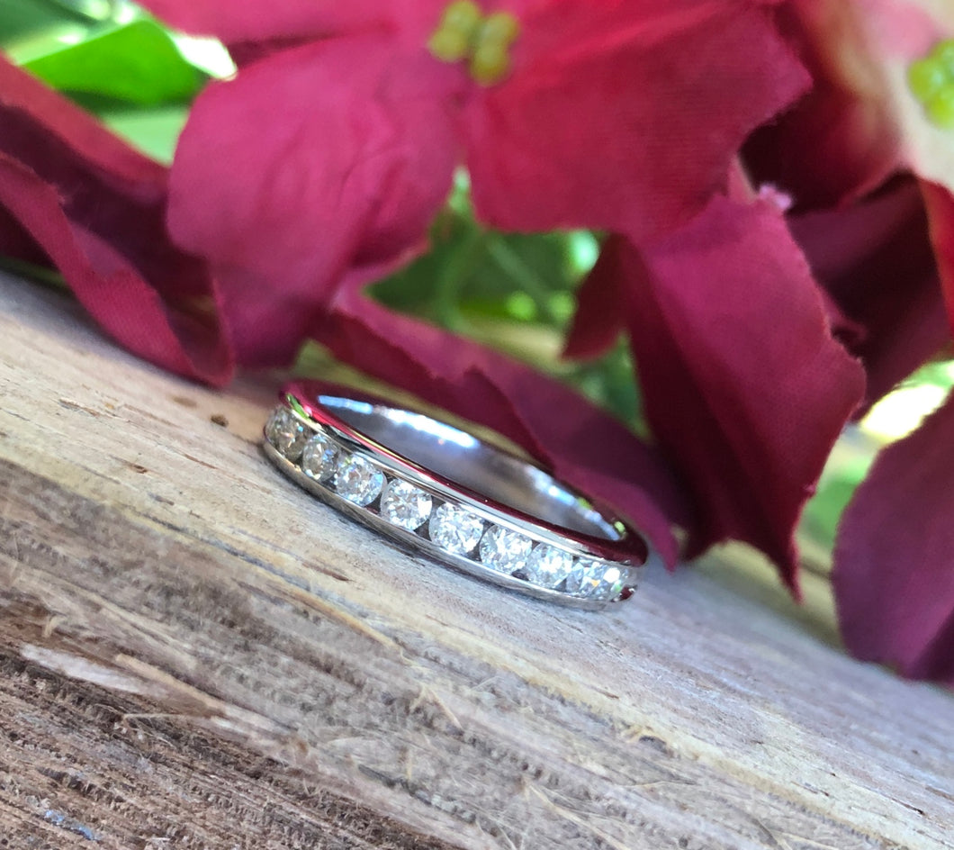 14K White Gold 1/2 CTW Diamond Band Ring