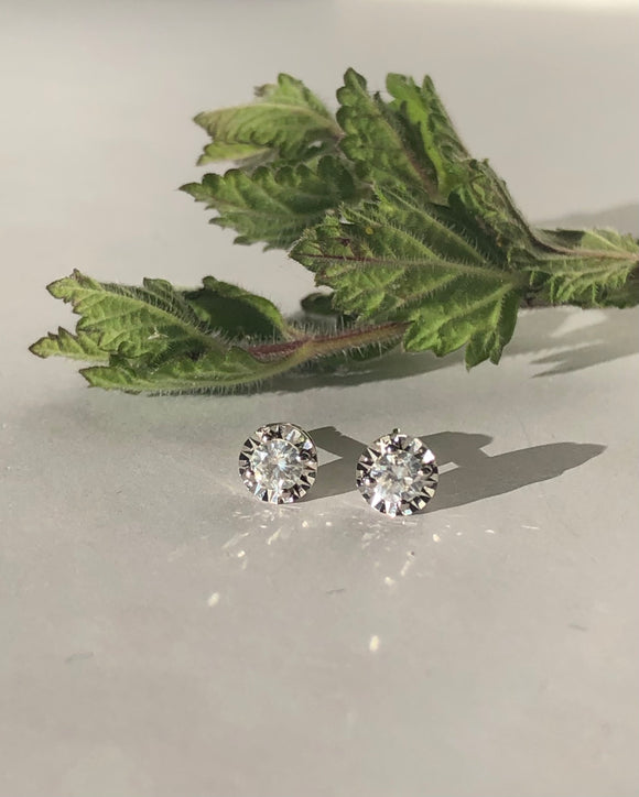 14K White Gold .32 CTW Diamond Stud Earrings