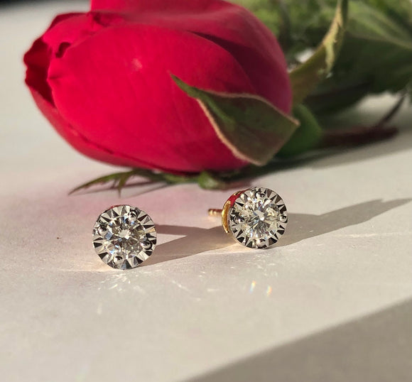 14K Yellow Gold .32 CTW Diamond Stud Earrings